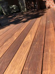 11 year old Ipe Deck after staining with Hardwood Wiping Stain Amaretto