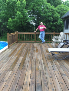 23 year old Pressure Treated Pine Deck after applying Timber Oil Warm Honey Gold