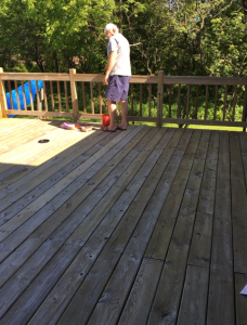 23 year old Pressure Treated Pine Deck during applying Timber Oil Warm Honey Gold