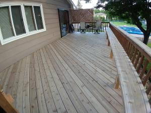 Cedar Deck Before Stained with Timber Oil Amaretto
