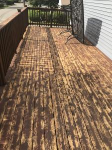 Cedar Deck before stripping with HD-80 & Citralic and staining with Timber Oil Amaretto