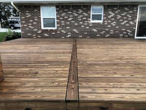 Cedar toned decking After applying Timber Oil Amaretto
