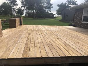 Cedar toned decking Before applying Timber Oil Amaretto