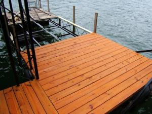 Five Quarter Yellowwood PTP Boat Dock Before-After Timber Oil Amaretto