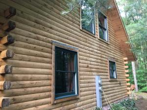 Northern white cedar log cabin after stripping with HD-80 & Citralic