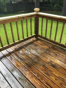 Yellow Pine Deck during applying HD-80 & Citralic