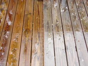 Pressure Treated Pine deck during cleaning with EFC-38